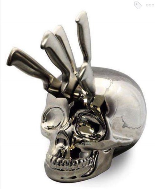 Home Accessory Skull Knife Block Halloween Decor Kitchen Rhwheretogetit: Skull Kitchen Accessories At Home Improvement Advice
