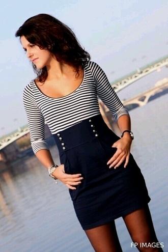 dress marinière rayures bleu marine blanc zara robes