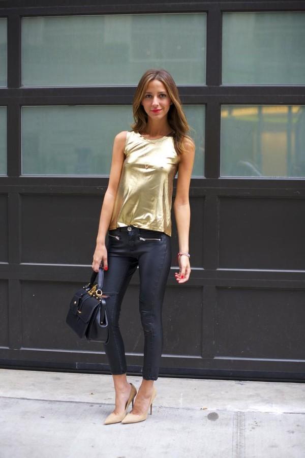 something navy t-shirt pants shoes bag jewels