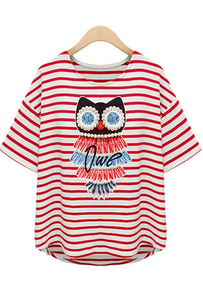 KCLOTH PearL Owl Stripes Casual Top