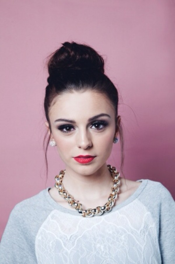 blouse cher lloyd pink grey jewels