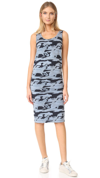 Monrow Shirred Camo Dress - Dusty Blue