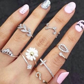 jewels flowers rings and tings the bling ring fashion spring flower ring rings silver diamond ring diamonds cross jewelry