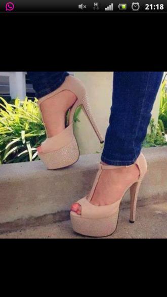 shoes beige shoes high heels peep toe heels plateau shoes