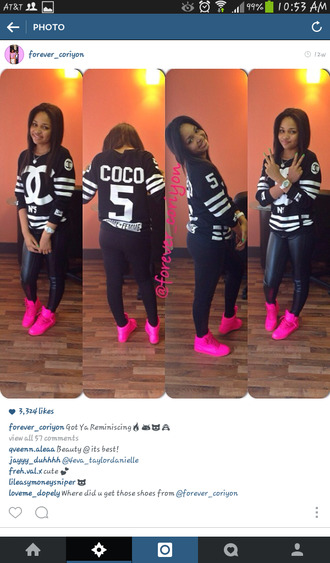 shoes pink sneakers coco chanel shirt pants