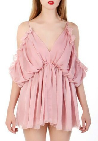 dress romper pink cute fashion style trendy girly off the shoulder ruffle feminine romantic