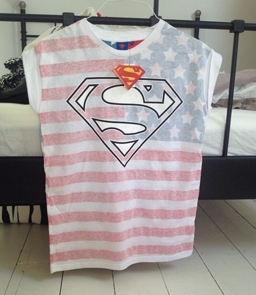 t-shirt superman tshirt stars strippes live