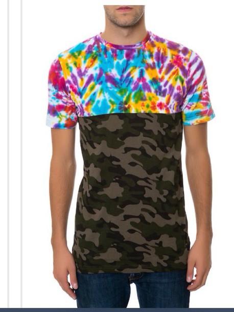 shirt color/pattern military style t-shirt menswear mens t-shirt mens shirt camouflage tie dye