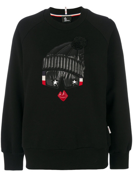 MONCLER GRENOBLE sweater embroidered women cotton black