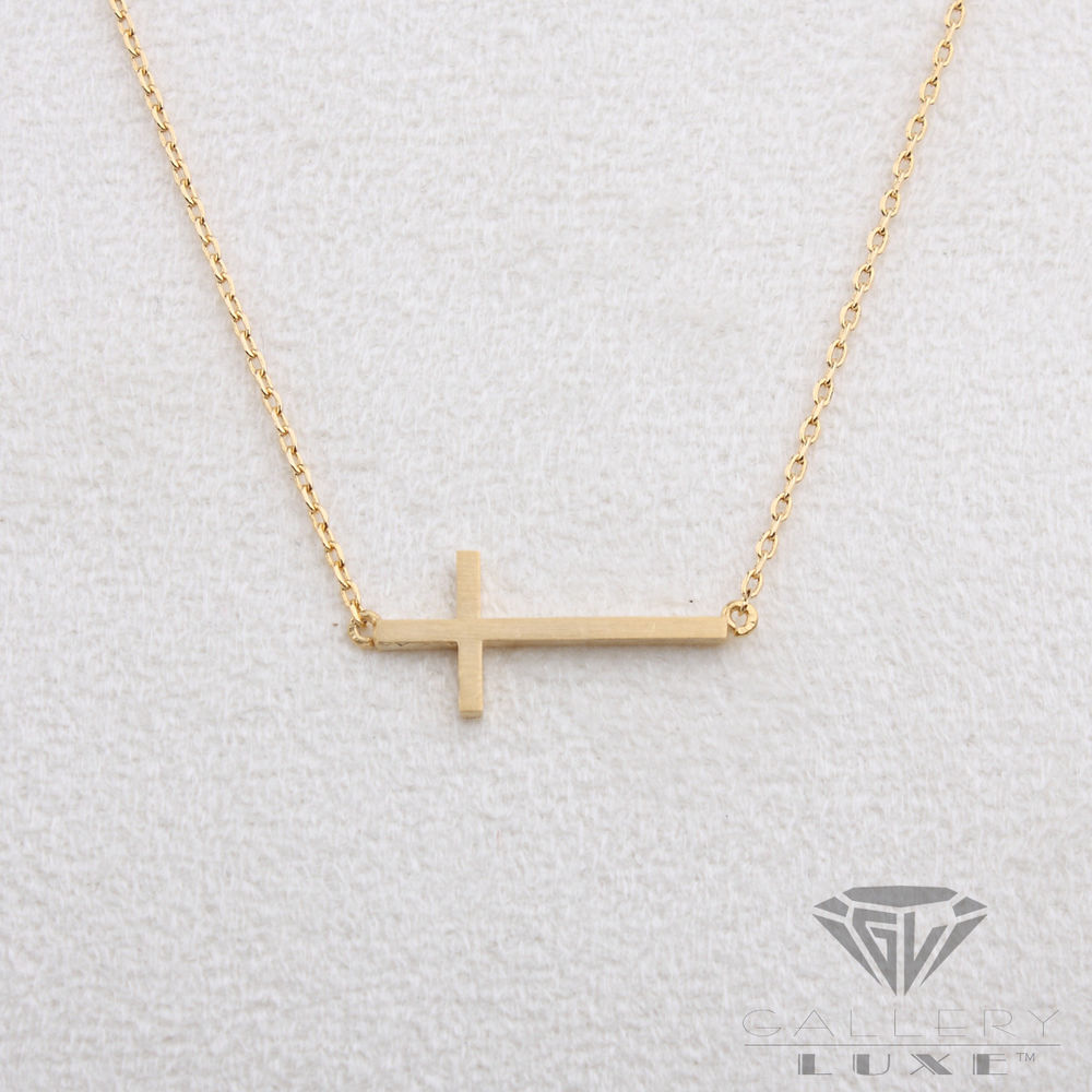 Matt Gold Color Horizontal Cross Pendant Crucifix Necklace Sideways Small Size | eBay