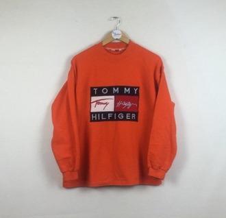 sweater orange 90s style hoodie urban street cool tommy hilfiger
