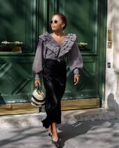 top,v neck,puffed sleeves,ruffled top,checkered,maxi skirt,pencil skirt,mules,handbag,round sunglasses,retro sunglasses