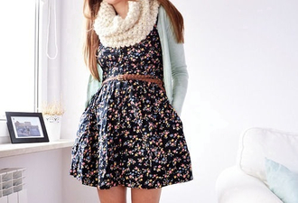 dress floral dress scarf knitted scarf braided belt brown belt sweater cardigan