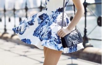 dress blue dress blue dress casual cute floral dress flowers dress