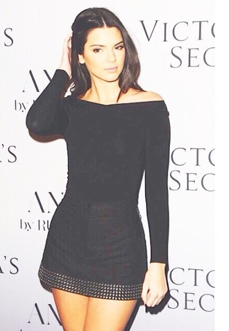 kendall jenner black dress victorias secrete model kendal jenner dress dress kardashians cute dress summer studded long sleeve dress top victoria's secret