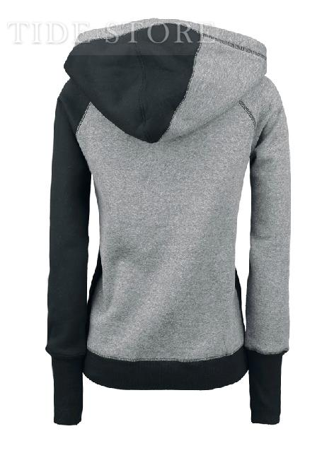 Casual European Style Split Joint Cotton Slim Hoodie: tidestore.com