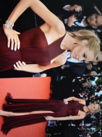 blake lively gucci burgundy dress style