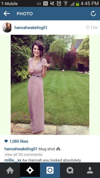 purple purple dress long dress the vamps hannah wakeling prom dresses 2014 silver belt metallic belt v neck dress lavender dress long prom dresses