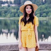 romper,hat,tumblr,polka dots,yellow,yellow romper,sun hat,straw hat
