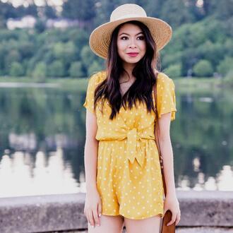 romper hat tumblr polka dots yellow yellow romper sun hat straw hat