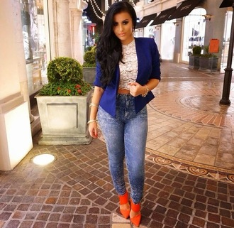 jeans blue orange amrezy blazer tumblr so cute urban