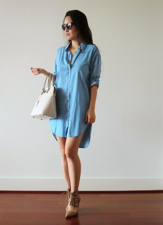 sensible stylista blogger shirt dress nude high heels handbag shoes dress bag sunglasses