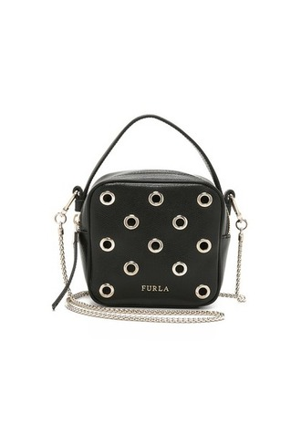 bag leather bag black leather bag chain bag furla