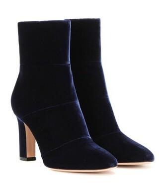 boots ankle boots velvet blue shoes