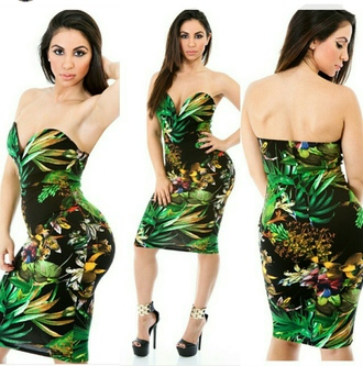 jungle print strapless dresses midi dress sweetheart dresses sweetheart neckline tropical midi