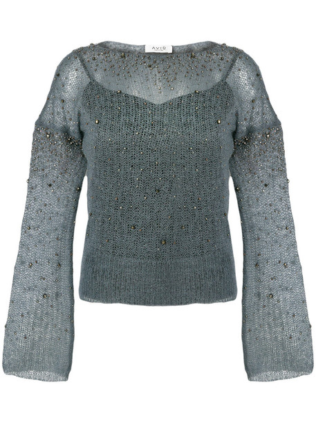 AVIU top embellished top women embellished mohair blue wool