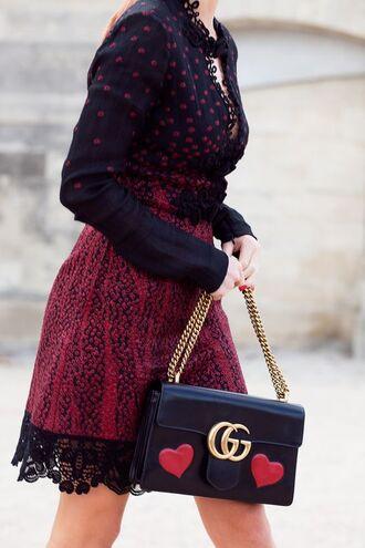 bag tumblr black bag gucci gucci bag chain bag dress red dress lace dress mini dress long sleeves fall outfits