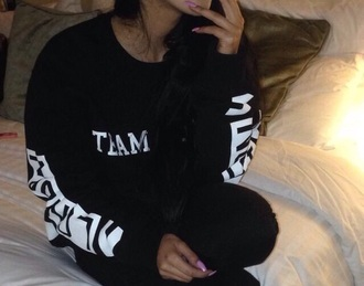 black tumblr jumper sweatshirtrt sweater shirt black white hotel joint long sleeves blouse team jumper