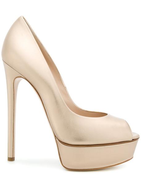 CASADEI women sandals platform sandals leather grey metallic shoes