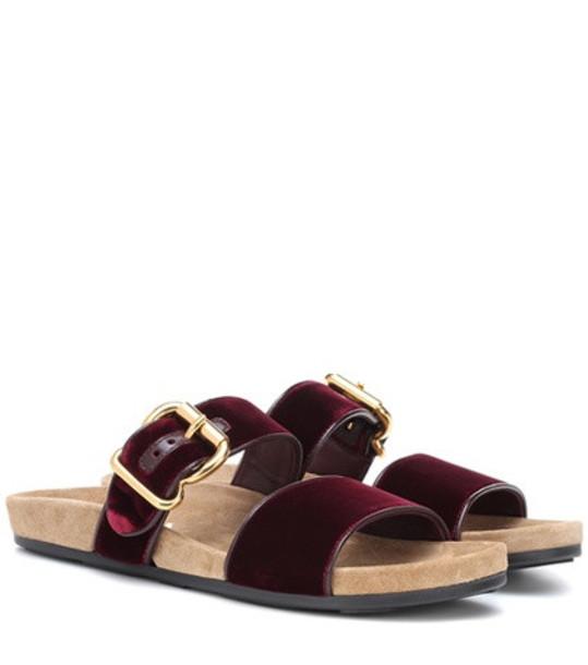 Prada Velvet slip-on sandals in red