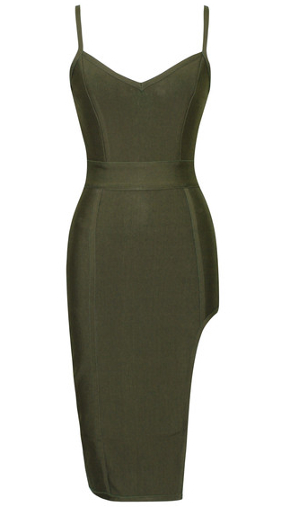 Side Slit Bandage Dress Green