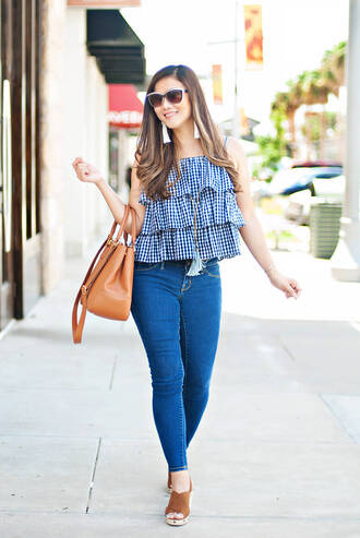 whatever is lovely – a houston life and style blog by lynne gabriel blogger blouse jeans jewels bag shoes gingham ruffles top ruffle handbag skinny jeans summer outfits