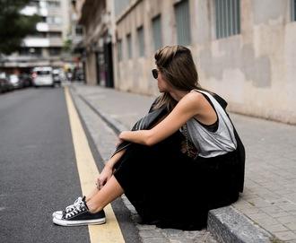 ms treinta blogger jacket skirt shoes bag black leather jacket grey tank top sneakers black skirt