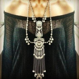 jewels silver necklace big necklace long neckalce fashion trendy