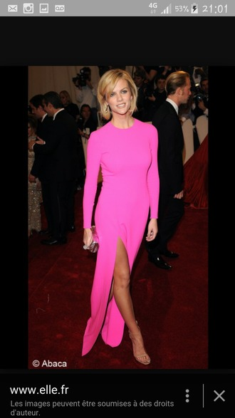 dress pink long dress long-sleeve dress bright