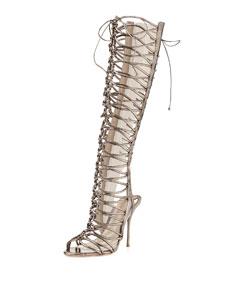 Knee gladiator sandal boot, gunmetal