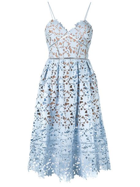 self-portrait dress embroidered dress embroidered women spandex lace blue