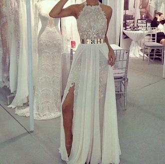 classy high heels prom dress long white dress lace dress slit dress long prom dress long dress party outfits crochet party dress sexy dress belt wedding dress