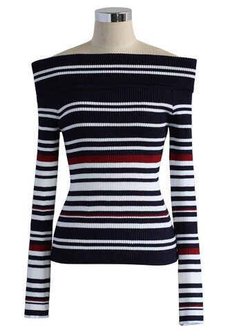 top whimsy stripes off-shoulder knit top in navy chicwish navy knitted top navy top