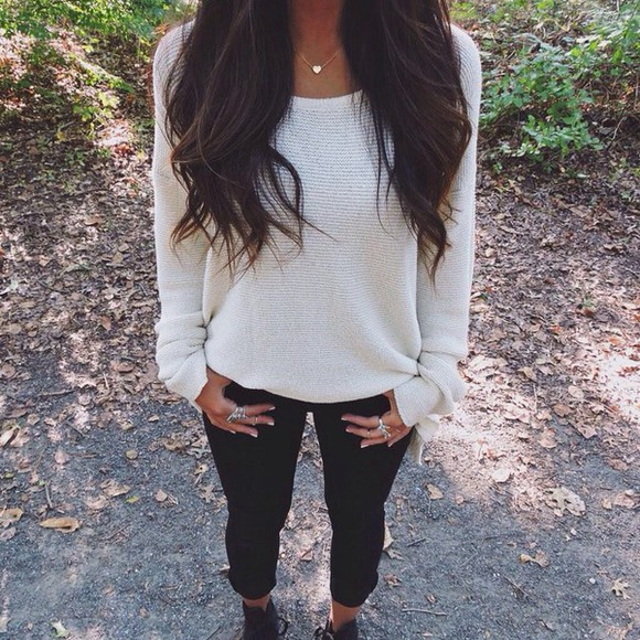 jewels sweater necklace fall sweater fall outfits fashion