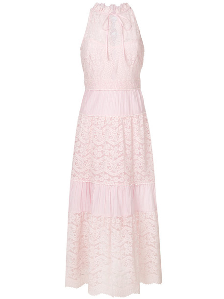 Temperley London dress maxi dress maxi women lace cotton purple pink