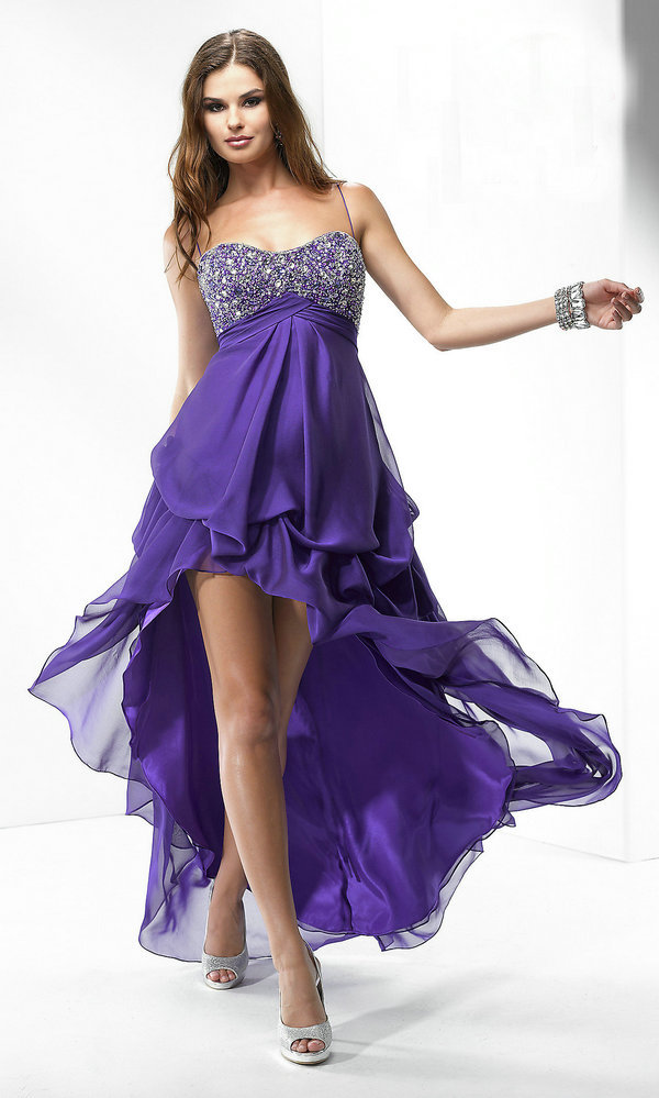 Summer Hot Sale Graduation Happy Girls Dress Spaghetti Straps Beaded Short Front Long Back Purple Prom Dresses-in Prom Dresses from Apparel & Accessories on Aliexpress.com