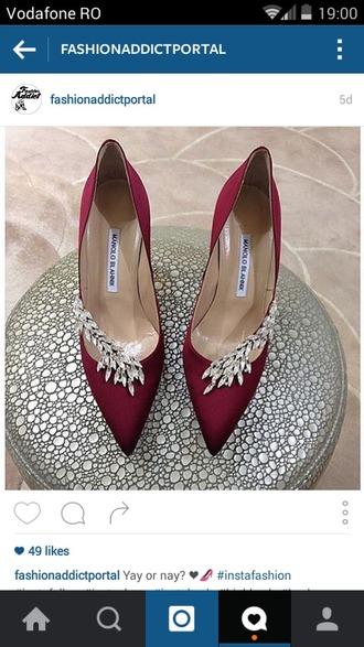 shoes diamonds heels burgundy stilettos