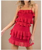 dress,tobi ruffle shift dress red