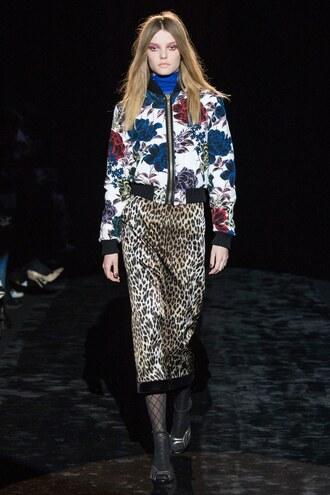 skirt jacket floral animal print midi skirt fashion week 2016 runway paris fashion week 2016 emanuel ungaro