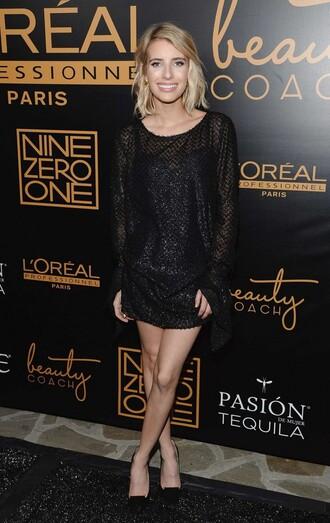 sequins sequin dress emma roberts black short dress mini dress